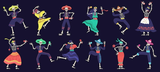 Dia de los muertos squelettes jour des morts squelettes dansants fête festival mexicain mascottes ensemble de vecteurs