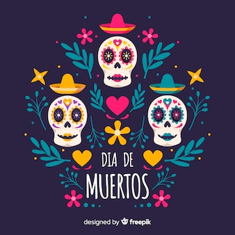 Dia de muertos background au design plat