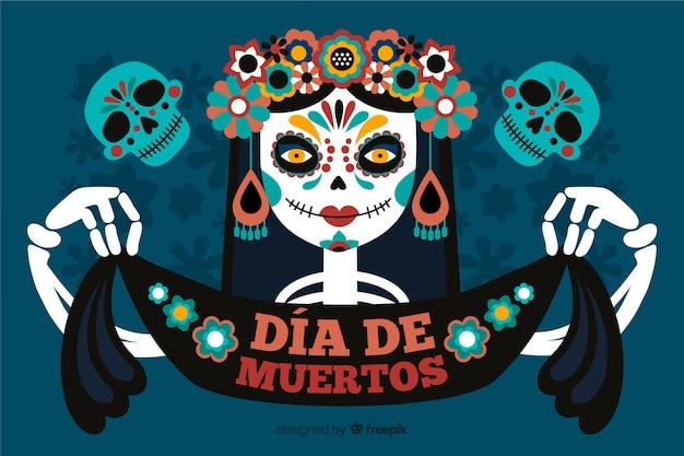 Dia de muertos background avec femme squelette et ruban