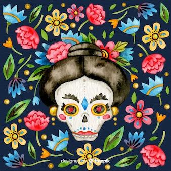 Día de muertos coloré à l'aquarelle