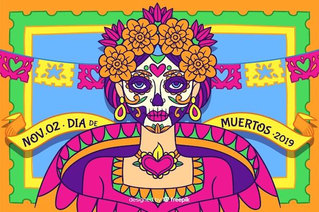 Dia de muertos concept avec arrière-plan dessiné à la main