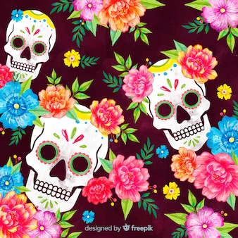 Día de muertos concept avec fond aquarelle
