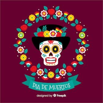 Día de muertos concept avec fond design plat