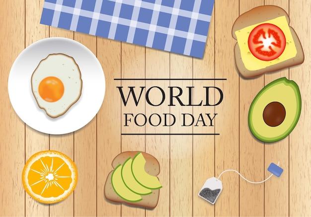 Dia mundial de la nourriture sobre fondo de madera