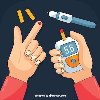 Diabète dessiné main testant la composition du sang