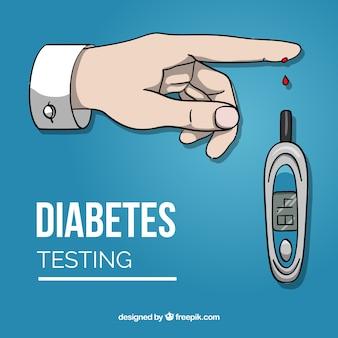Diabète, essai, sanguine, fond