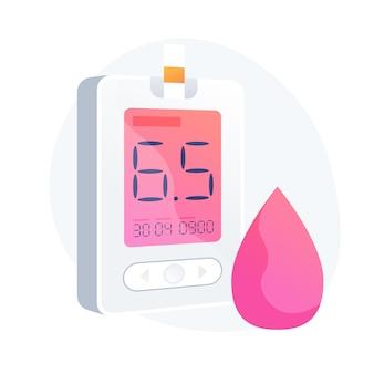 Diabète sucré. outil de mesure du niveau de sucre dans le sang, équipement médical, élément de conception d'idée de diabétologie. maladie d'hypoglycémie, diagnostic de glycémie. illustration de métaphore de concept isolé de vecteur