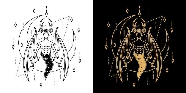 Diable avec aile et lune conception de monoline de tatouage géométrique
