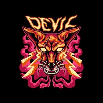 Diable, chat, mascotte
