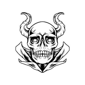 Diable, crâne, à, lune, silhouette
