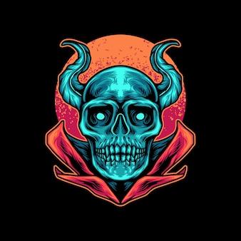 Diable, crâne, à, lune