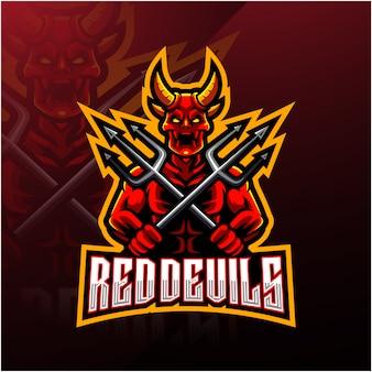 Le diable détient le logo de la mascotte trident esport