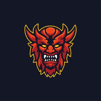 Diable Head Cartoon Logo Template Illustration Esport Logo Gaming Premium Vector Vecteur Premium