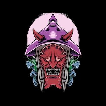 Diable japonais avec champignon d'herbe et lune pour la conception et l'impression de t-shirts
