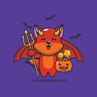 Diable de renard mignon portant citrouille halloween illustration de dessin animé mignon halloween