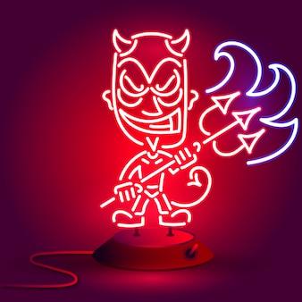 Diable rouge néon