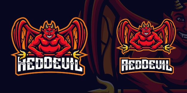 Diable rouge tenant golden staff mascot gaming logo template pour esports streamer facebook youtube