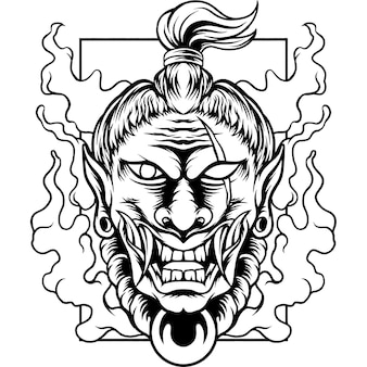 Le diable samouraï japon silhouette