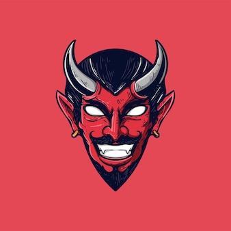 Diable tête illustration vecteur mascotte