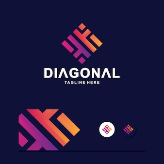 Diagonal colorful logo vector prêt à l'emploi