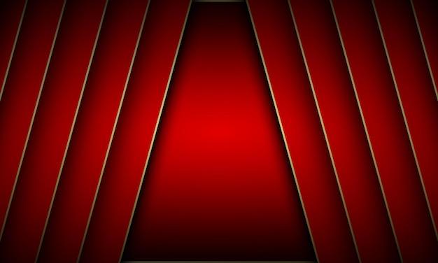 Diagonale en métal rouge avec fond de lignes dorées. modèle de bannière. illustration vectorielle.