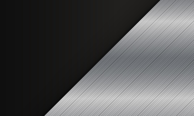 Diagonale métallique argentée abstraite sur fond noir. design élégant pour votre bannière web.