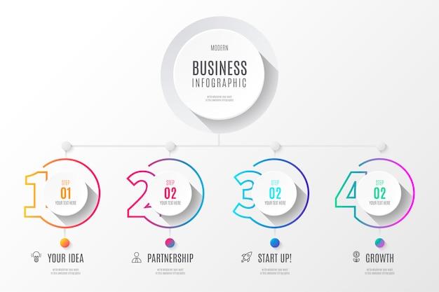 Diagramme d'affaires coloré infographie avec des nombres