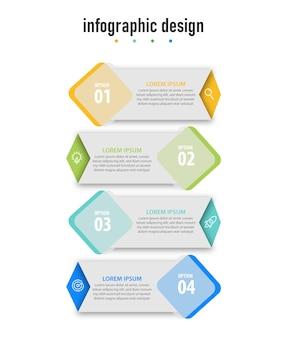 Le diagramme d'affaires infographique étapes la conception de modèles modernes
