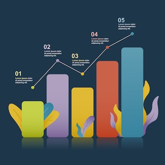 Diagramme à barres diagramme graphique statistique entreprise infographie illustration avec nature leaf