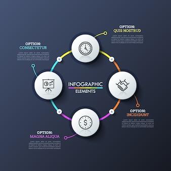 Diagramme circulaire avec 4 éléments ronds blancs reliés par des lignes colorées et des boutons de lecture. disposition de conception infographique moderne.