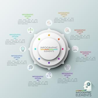 Diagramme circulaire avec 8 flèches pointant sur des pictogrammes de lignes fines et des zones de texte. huit étapes d'un processus commercial productif.