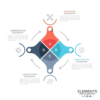 Diagramme circulaire divisé en 4 parties colorées reliées par des flèches, des symboles linéaires et un emplacement pour le texte. concept de cycle de production industrielle. disposition de conception infographique moderne. illustration vectorielle.