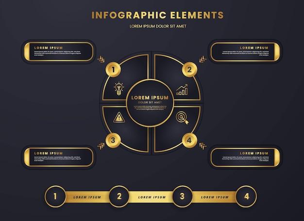 Diagramme circulaire d'infographie de luxe en or et noir graphique de modèle d'entreprise stratégique et d'analyse