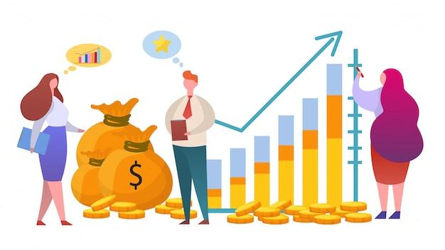 Diagramme de croissance de l'argent, illustration. investir dans la finance et stratégie à but lucratif, travail de caractère gestionnaire homme femme.