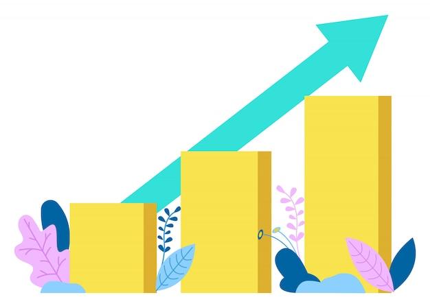 Diagramme en croissance graphique avec flèche, graphiques isolés