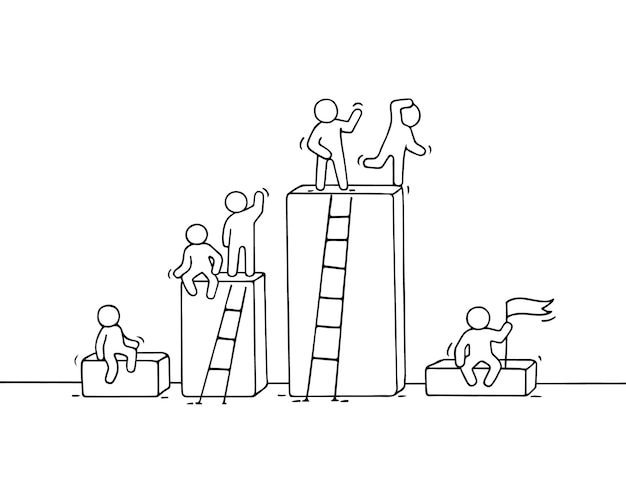 Diagramme de dessin animé avec de petites personnes qui travaillent. doodle travail d'équipe miniature mignon. illustration dessinée à la main pour la conception d'entreprise et l'infographie.
