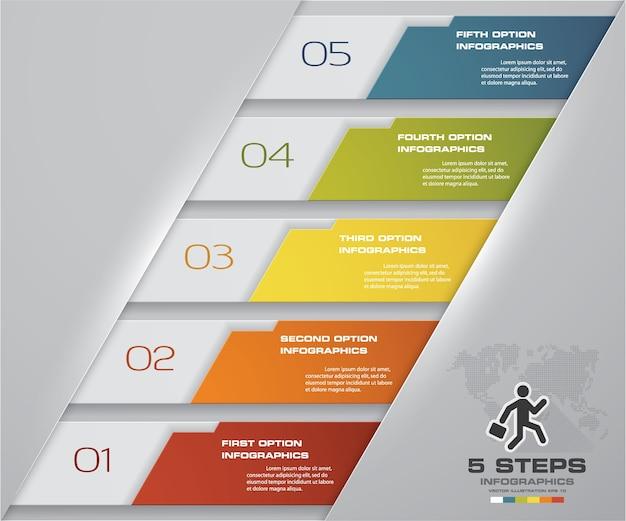 Diagramme d'éléments infographiques de processus en 5 étapes.