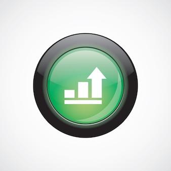 Diagramme d'entreprise, icône de signe de verre graphique bouton brillant vert. bouton du site web de l'interface utilisateur