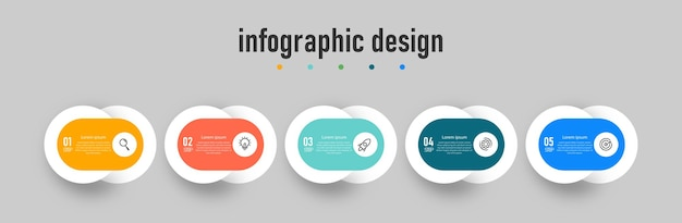 Diagramme d'étape de processus d'infographie de numéro de diagramme de flux de travail d'infographie avec des icônes de ligne