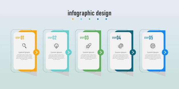 Diagramme de flux de travail infographique étape numéro diagramme d'étape de processus d'infographie avec icônes de ligne concept d'information illustration du diagramme d'informations d'étape et de l'infographie