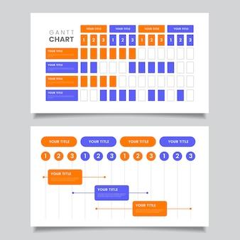 Diagramme de gantt au design plat
