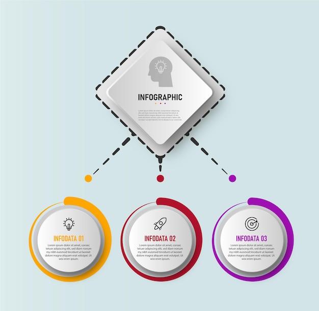 Diagramme graphique d'entreprise de cercle infographie élément, chronologie avec 5 étapes
