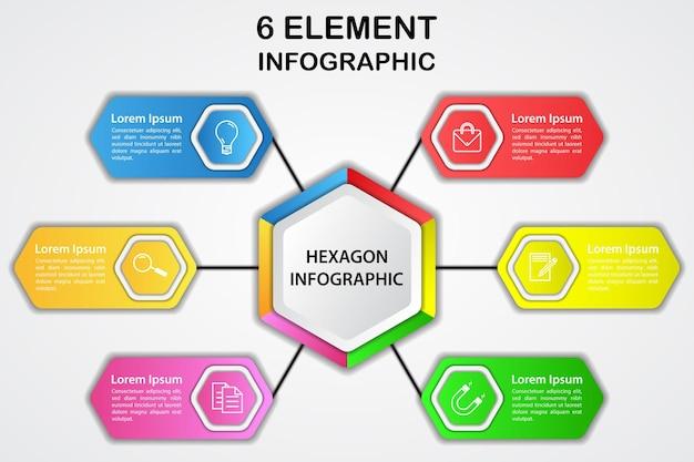Diagramme infographique 3d hexagonal moderne avec 6 éléments