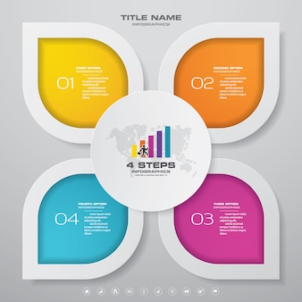 Diagramme de modèle d'élément d'infographie en 4 étapes