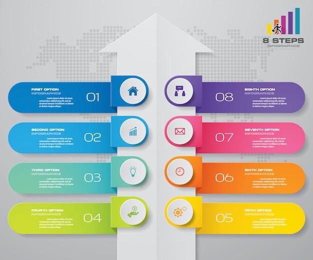 Diagramme de modèle de flèche de 8 étapes élément infographie.
