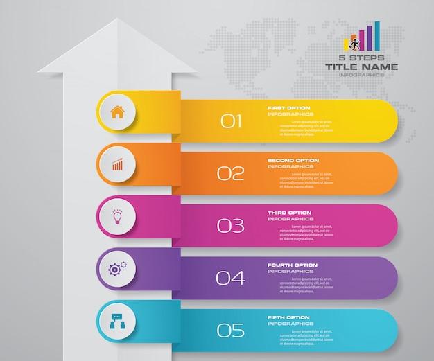 Diagramme de modèle de flèche élément 5 étapes infographie.