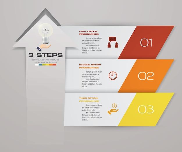 Diagramme de modèle de flèche élément infographie 3 étapes.
