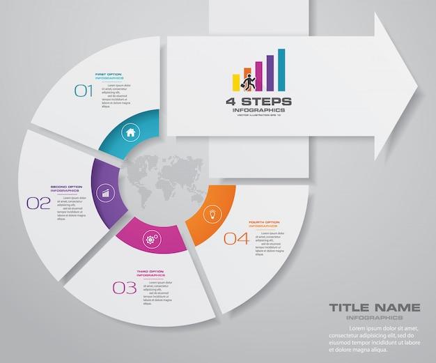 Diagramme de modèle de flèche élément infographie 4 étapes.