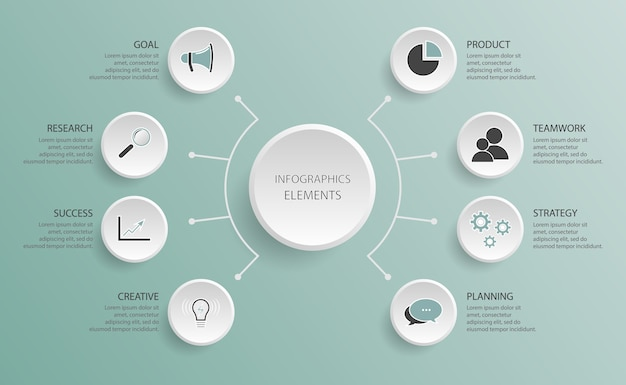 Diagramme d'organigramme. modèle d'infographie avec cinq étapes pour la recherche de succès, le travail d'équipe, la planification, la création, le produit, l'objectif, le succès, la stratégie