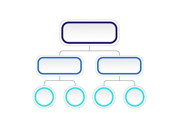 Diagramme d'organigramme vide. modèle infographique avec étiquette en papier 3d, cercles intégrés. concept d'entreprise avec options.